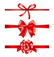 Red gift bows collection with ribbons vector image vector image