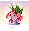 red tulips in a bucket vector image vector image