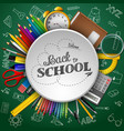 school supplies in a circle on green background vector image vector image