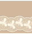 Seamless lacy border on beige background vector image