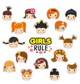 set kids faces vector image vector image