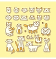 Set of hand drawn funny cats on yellow background