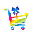 shopping cart with gift vector image