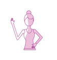 silhouette healthy woman doing exercise vector image vector image