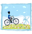 Silhouette of boy on bike vector image vector image