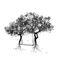 Silhouette of trees and swing between the trees vector image vector image