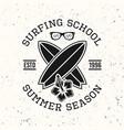 surfing school black vintage emblem vector image