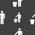 throw away the trash icon sign Seamless pattern on vector image