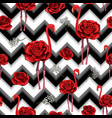 trendy zigzag lines print embroidered red roses vector image
