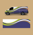 van wrap design template with wave shapes decal vector image vector image