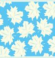 white foliage on turn blue background vector image vector image