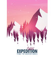 winter travel landscape forest woods with vector image vector image