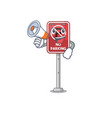 with megaphone no parking mascot shaped on cartoon vector image vector image