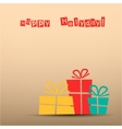 Retro card with presents teal yellow red vector image