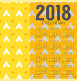 2018 yellow graphic pattern printable calendar vector image vector image