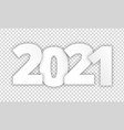 2021 happy new year white paper cut on vector image vector image