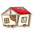 a sticker template with destroyed house isolated vector image