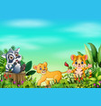 animal cartoons in beautiful gardens with a blue s vector image