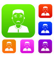 asian man set color collection vector image