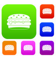 burger set color collection vector image vector image
