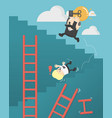 businessmen who are up the ladder of success with vector image