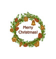 cartoon merry christmas wreath spruce with vector image vector image