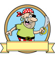 Cartoon of a pirate inside a circle w vector image vector image