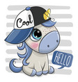 cartoon unicorn with a blue cap on striped vector image vector image
