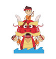 chinese people on dragon boat vector image vector image