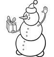 christmas snowman coloring page vector image vector image