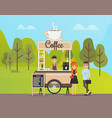 coffee beverage shop in park clients store vector image vector image