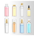 cosmetics bottles realistic set vector image