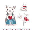 cute cartoon teddy bear with love letter and vector image vector image