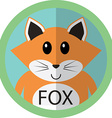 Cute fox cartoon flat icon avatar round circle vector image vector image