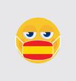emoji wearing a medical mask shaped like an spain vector image vector image