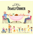 family eating dinner at home happy people eat vector image vector image
