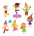 flat cartoon kids at party set vector image vector image