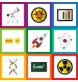 flat icon study set of danger theory of vector image