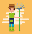 gardener boy farm work vector image