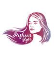 girl beautiful woman face hand drawn vector image vector image