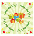 green greeting background with gifts for birthday vector image vector image