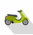 Green scooter icon flat style vector image