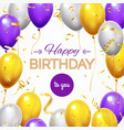 greeting card with balloons happy birthday vector image vector image