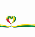 guinea-bissau flag heart-shaped ribbon vector image vector image