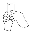 Hands holding cell phone icon outline style vector image vector image