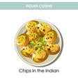 indian cuisine potato chips traditional dish food vector image vector image