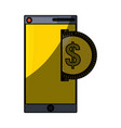 isolated money cellphone vector image vector image