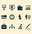 job icons set collection of billfold statistics vector image vector image