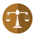 justice scale law symbol shadow vector image