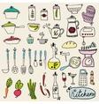 Kitchen set in Stylish design elements of kitchen vector image vector image